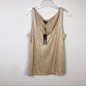 Talbots Gold Sequin Tank Top Size Large NWT